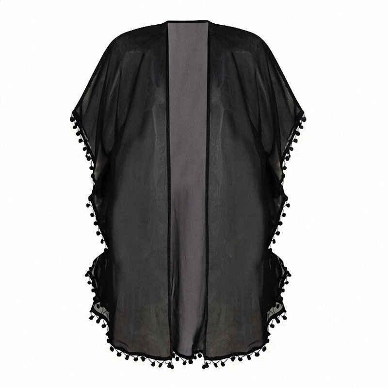 Voan Tops Tua Khăn Choàng Kimono Cardigan Blusa Feminina 2016 Phụ Nữ Giản Dị Trăng In Áo Mùa Hè kimono Áo Sơ Mi Áo Khoác