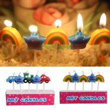 3D автомобиль Звезда Мультфильм свечи день рождения торт украшение Милая свечка ребенок день рождения принадлежности Свадебный орнамент