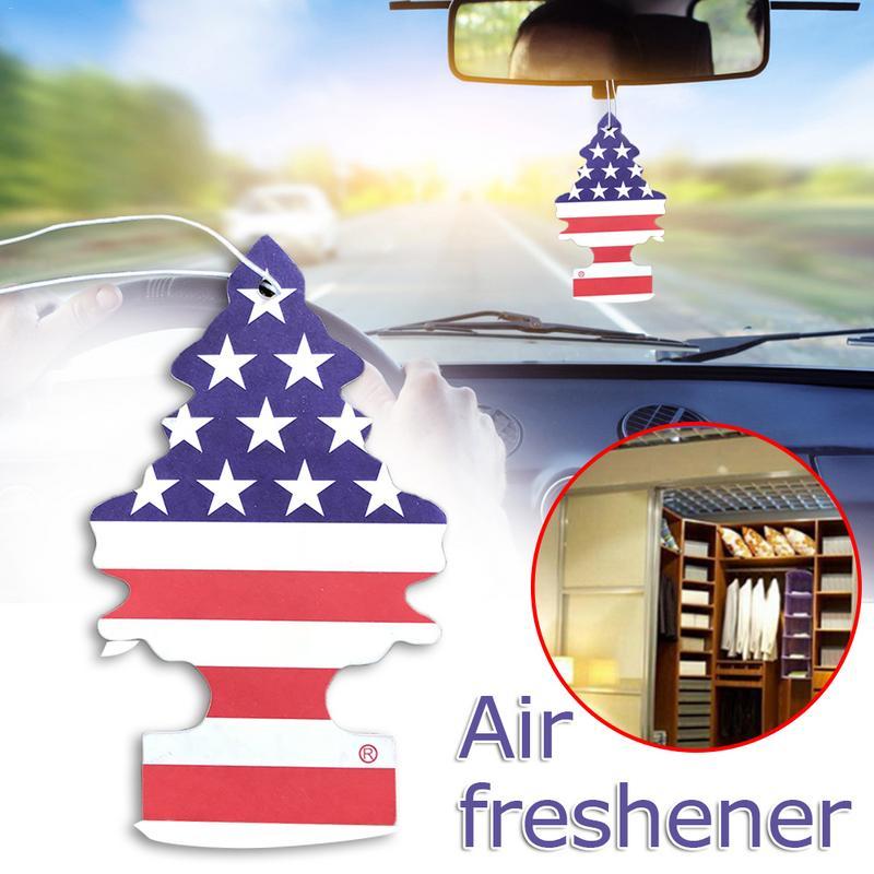 10pcs/set Mini Tree Hanging Air Freshener Car Aromatherapy Personality Pendant Organic Fiber Cotton Paper Car Interior Access