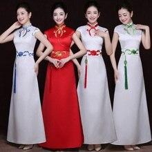 Лидер продаж, атласное женское платье Ципао с коротким рукавом и подвеской, традиционное платье чонсам, Платья с цветочным принтом, винтажное женское платье для выступлений на сцене, Vestidos