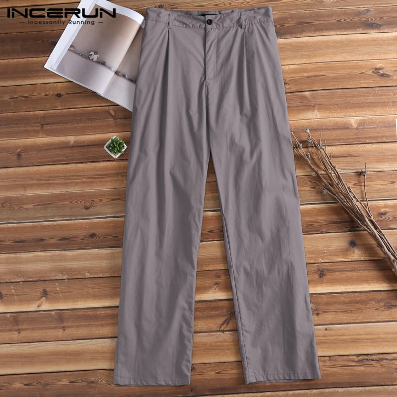 INCERUN Chinos Mens Pants Dress Office Solid Pants Formal Dressing Male Long Trousers Loose Fitness Joggers Pantalon Hombre