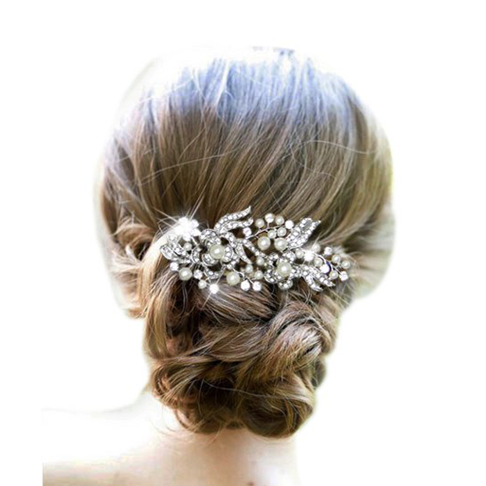 us $2.06 6% off|new floral wedding tiara sparkling silver austrian crystal pearl bridal hair combs hairpin jewelry hair accessories #15-in hair