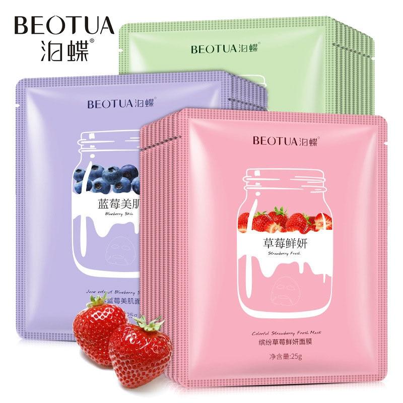 Sheet Face Mask Natural Fruit Extracts Hyaluronic Acid Facial Masks Whitening Anti Aging Korean Masks Skin Care