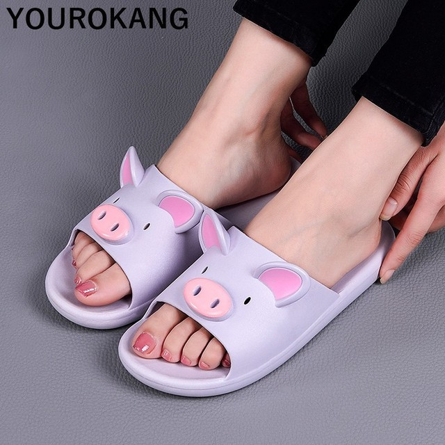 Summer Couple Shoes Home Slippers Cute Indoor Non-slip Bathroom Slippers For Lovers Pig Cartoon Women Slippers Lovely Household 1