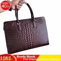 Роскошные брендовые кожаные с узором «крокодиловая кожа» высокого класса мужская сумка моды портфель сумка кожа Компьютерная сумка лучший
