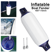 Marine Fenders Inflatable Blue Twin Eye Vinyl 110mm x 400mm Boat Mooring Buffer UV Protected Suitable for Small Boats Durable