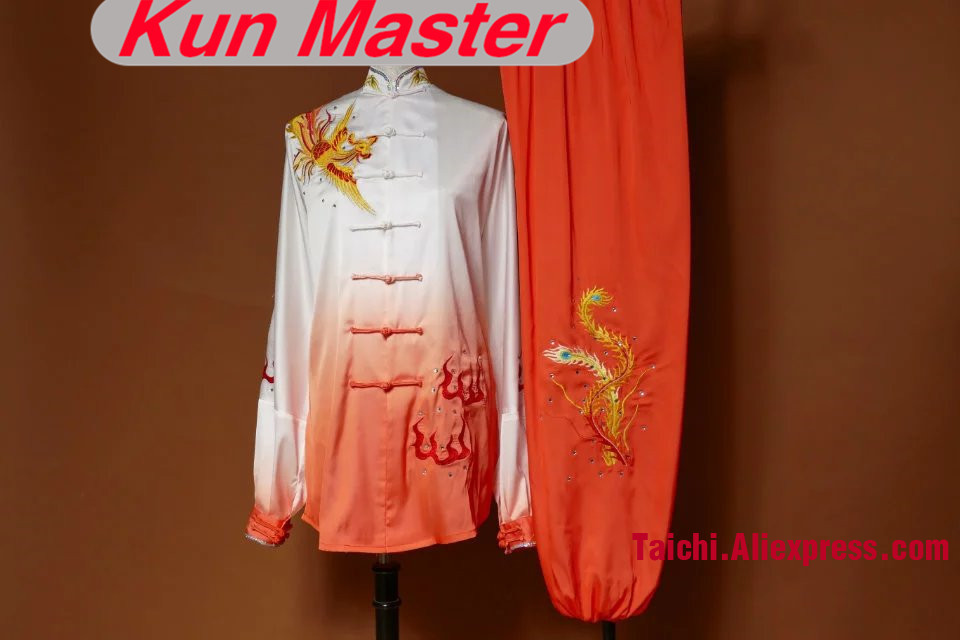 Lady Orange Gradual Change Color Custom Tai Chi Performance Uniform Embroidery Kung Fu Clothing Accord Your Height And Weight