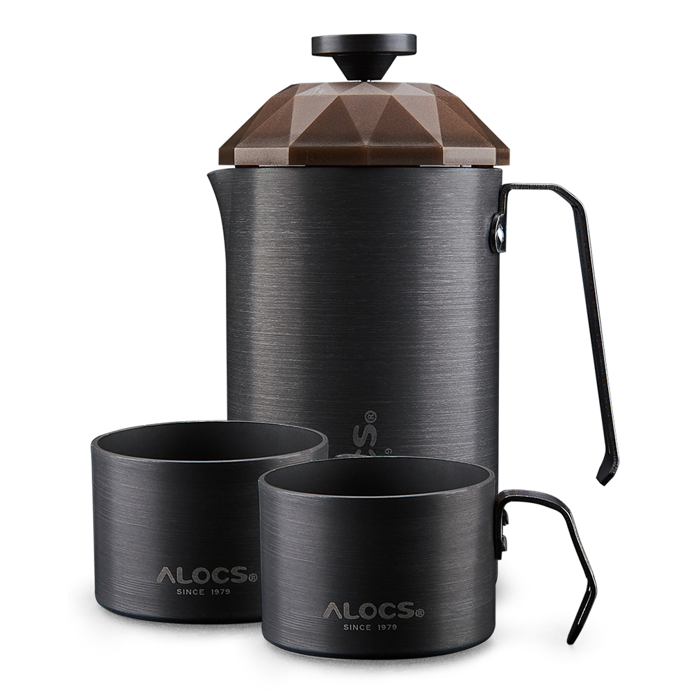 ALOCS Outdoor Aluminum Alloy Coffee Maker Combo with Cups 600ml Travel Coffee Pot 160ml Cups Portable