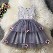 2019 Cute Girls Lace Floral Princess Summer Dress for Kids Toddler Girls Clothing Sleeveless Ball Gown Little Gril Dresses cute princess dress girl wedding lace dress party v neck dresses for girls ball gown sleeveless kids dresses for girls floral