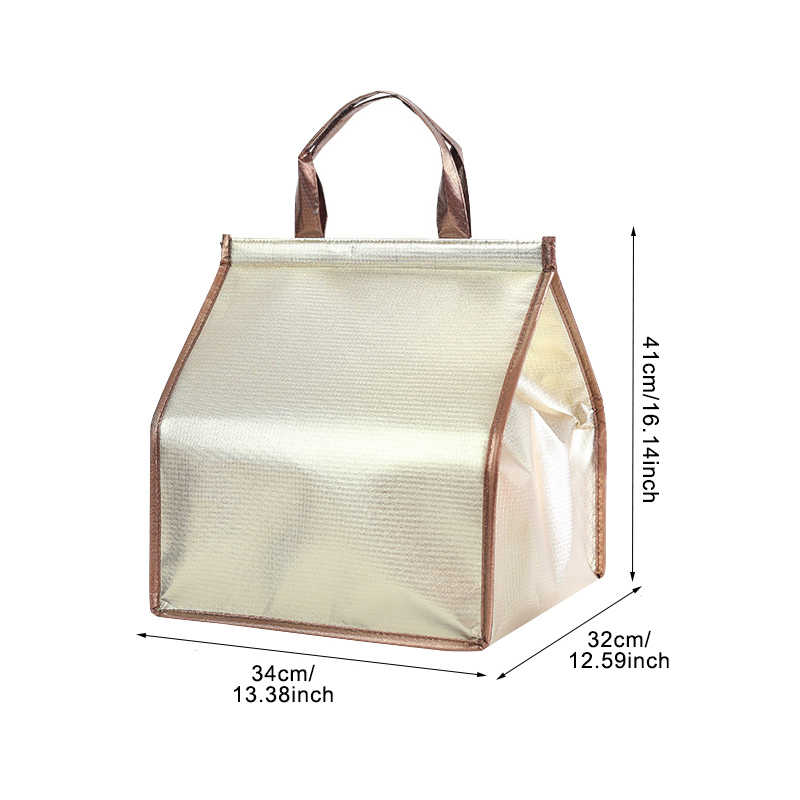 ... Gold Insulated Picnic Cooler Bags Cake Pizza Lunch Picnic Box Insulated  Cool Handbags Ice Pack Thermo ... 35c988a027e3