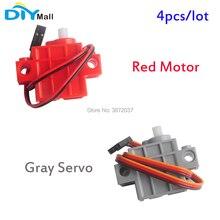 4 pçs/lote DIYmall Cinza Geek Servo Servo Motor para Geekservo Vermelho com Fio para Lego Micro: pouco Inteligente Carro 3 5V