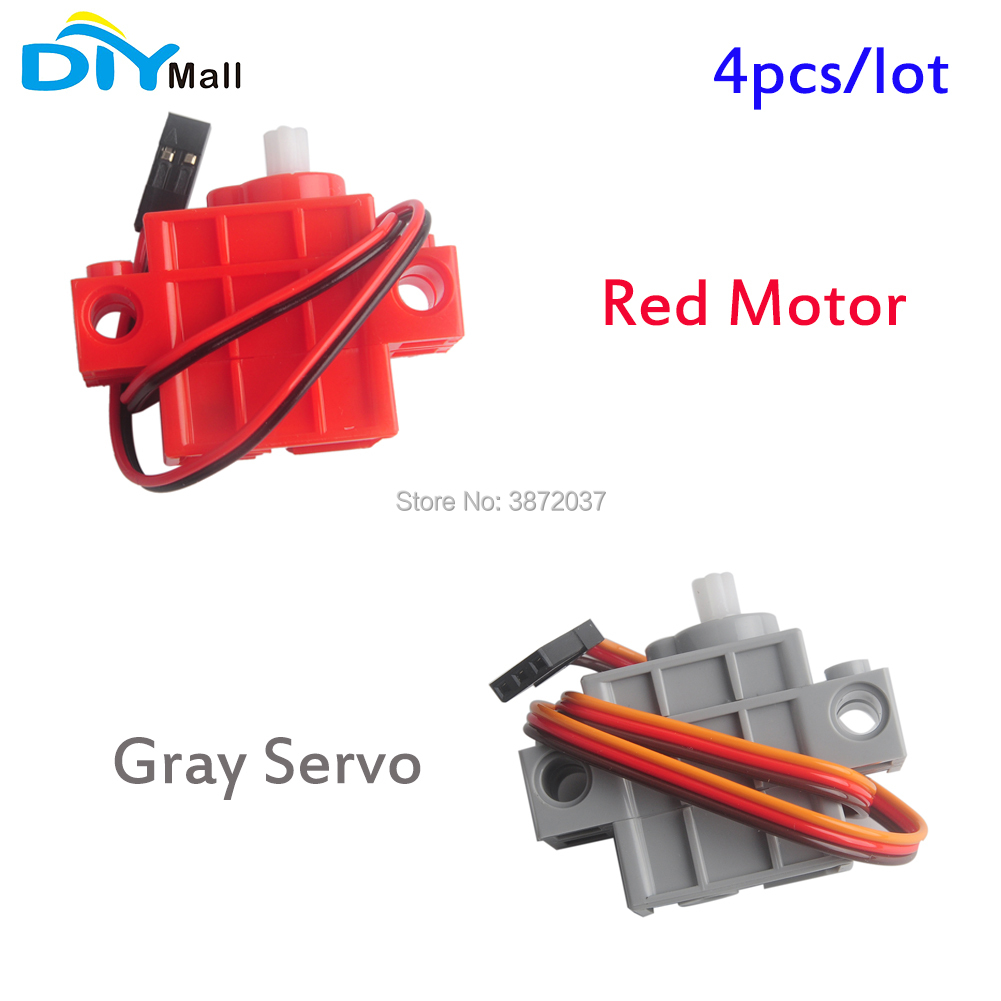 4pcs/lot DIYmall Gray Servo Red Motor For Geekservo Geek Servo With Wire For Lego Micro:bit Smart Car 3-5V