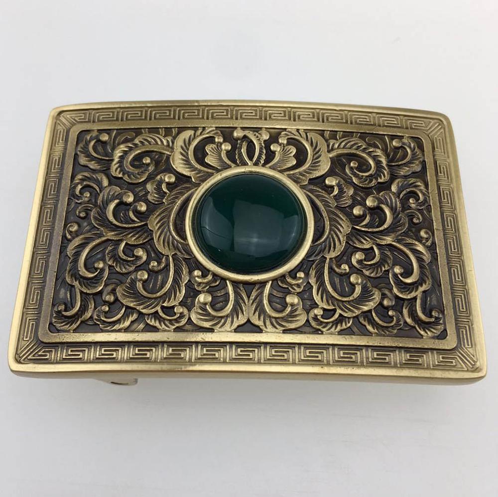 CUKUP New Design Mens Real Jade Floral Pattern Solid Brass Buckle Metal 3.7-3.9cm Wide Belt Paties Smooth Buckles Only BRK042