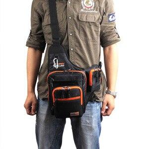 Image 5 - Sac de pêche imperméable en toile imperméable avec leurre, sac dextérieur et moulinet, sac de matériel de pêche, vert/Orange/noir
