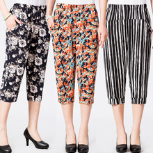 2019 Spring Summer Middle Aged Women Casual Floral Printed Pants High Waist Calf-Length Harem Pants Capris Plus Size 4XL цена