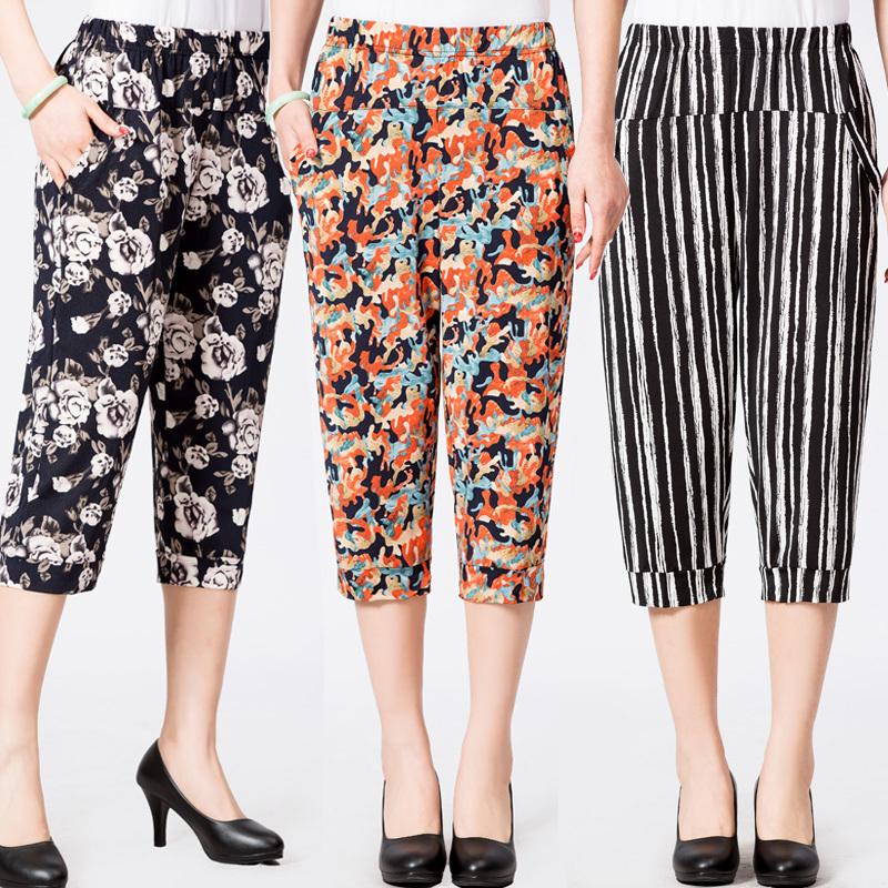 2019 Spring Summer Middle Aged Women Casual Floral Printed   Pants   High Waist Calf-Length Harem   Pants     Capris   Plus Size 4XL