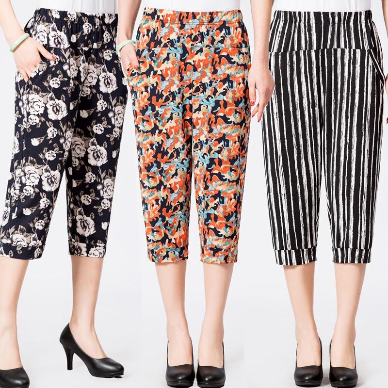 2019 Spring Summer Middle Aged Women Casual Floral Printed   Pants   High Waist Calf-Length Harem   Pants     Capris   Plus Size 4XL