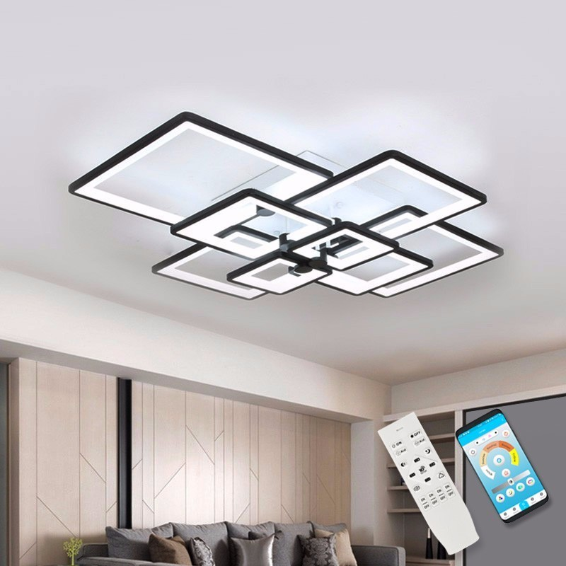 Modern Chandelier LED Light For Living Dining Room Lamp Square Black Home Kitchen Fixtures With Remote