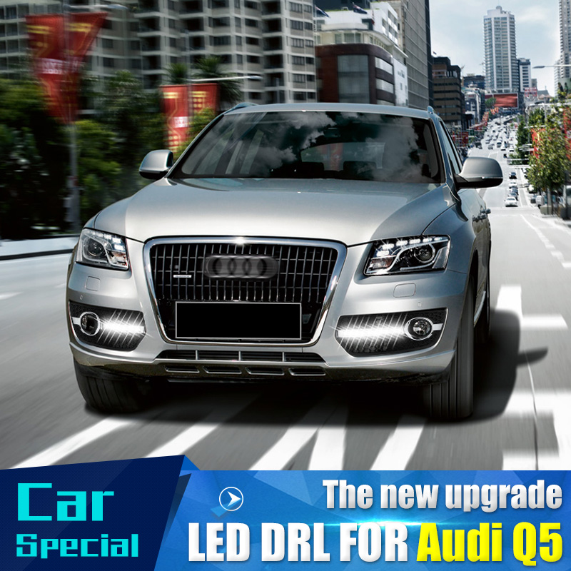 Car Flashing 1 Set For Audi Q5 2009 2010 2012 2013 Daylight Car LED DRL Daytime Running Lights Fog head Lamp cover car styling