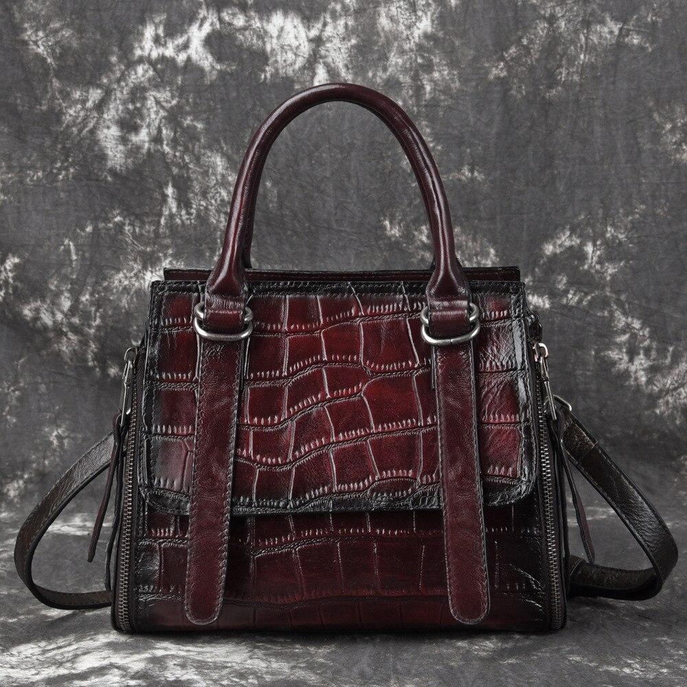 Women Real Cowhide Crossbody Messenger Shoulder Tote Bags Crocodile Pattern Luxury Handbag Female Top Handle Genuine