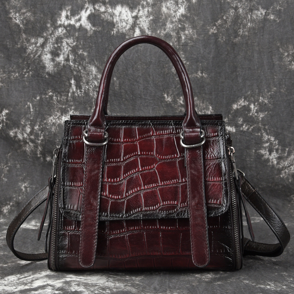Bagaj ve Çantalar'ten Omuz Çantaları'de Kadınlar Gerçek Inek Derisi Crossbody Messenger kol çantası Çanta Timsah Desen Lüks Çanta Kadın Üst Kolu hakiki deri çanta'da  Grup 1