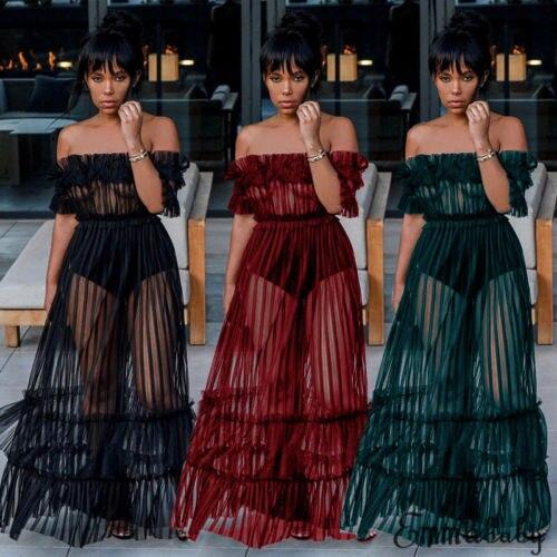 2018 New Off Shoulder Mesh Dress Women Summer Long Maxi Dress See Through Clubwear Prom Evening Party Beach Holiday Sundress