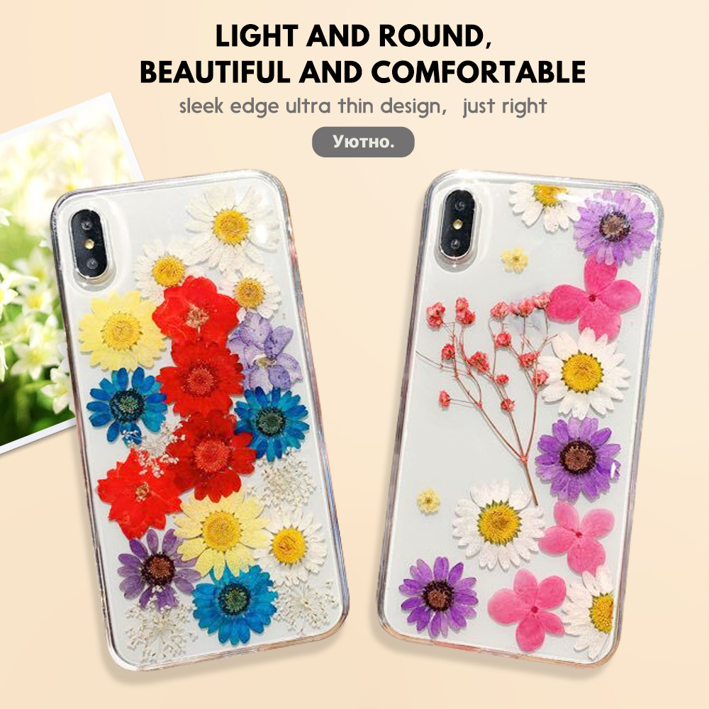 Pohiks NEW Real Dried Pressed Flowers TPU Clear Phone Case For iPhone X XS MAX XR 8 Plus For iphone XR XS Max Transparent Cover in Fitted Cases from Cellphones Telecommunications
