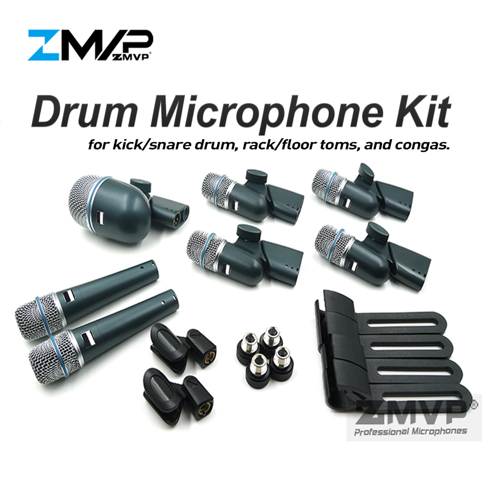 ZMVP BETADMK7 Professional 7 Piece Drum Kit Instrument Microphone Mic For  Bass Amp Toms Snare Drum
