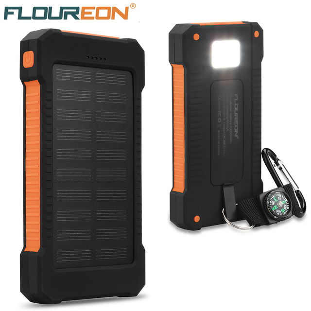 size 40 bcb58 cc12b US $16.24 |Floureon 10000mAh Solar Power Bank Dual USB Portable External  Battery Charger With LED Flashlight For Iphone X 8 Samsung Xiaomi-in Solar  ...