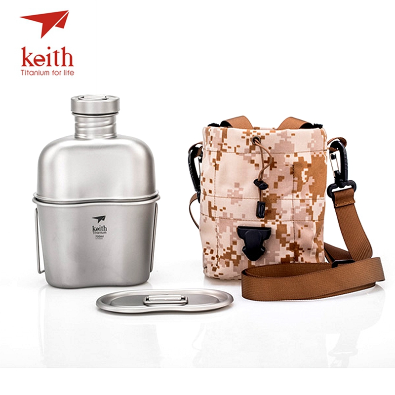Keith Titanium Sports Kettle And Titanium Lunch Box Camping Army Water Bottles Water Cooker Ultralight Ti3060