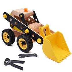Giocattolo di legno 3D di puzzle Escavatore Navvy Del Fumetto Modello di auto Ruota può spingere Creative assembly I Bambini impegnati Per Bambini giocattoli educativi