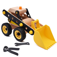 Wood toy 3D puzzle Excavator Navvy Cartoon car Model Wheel can push Creative assembly Kids busy board Children educational toys
