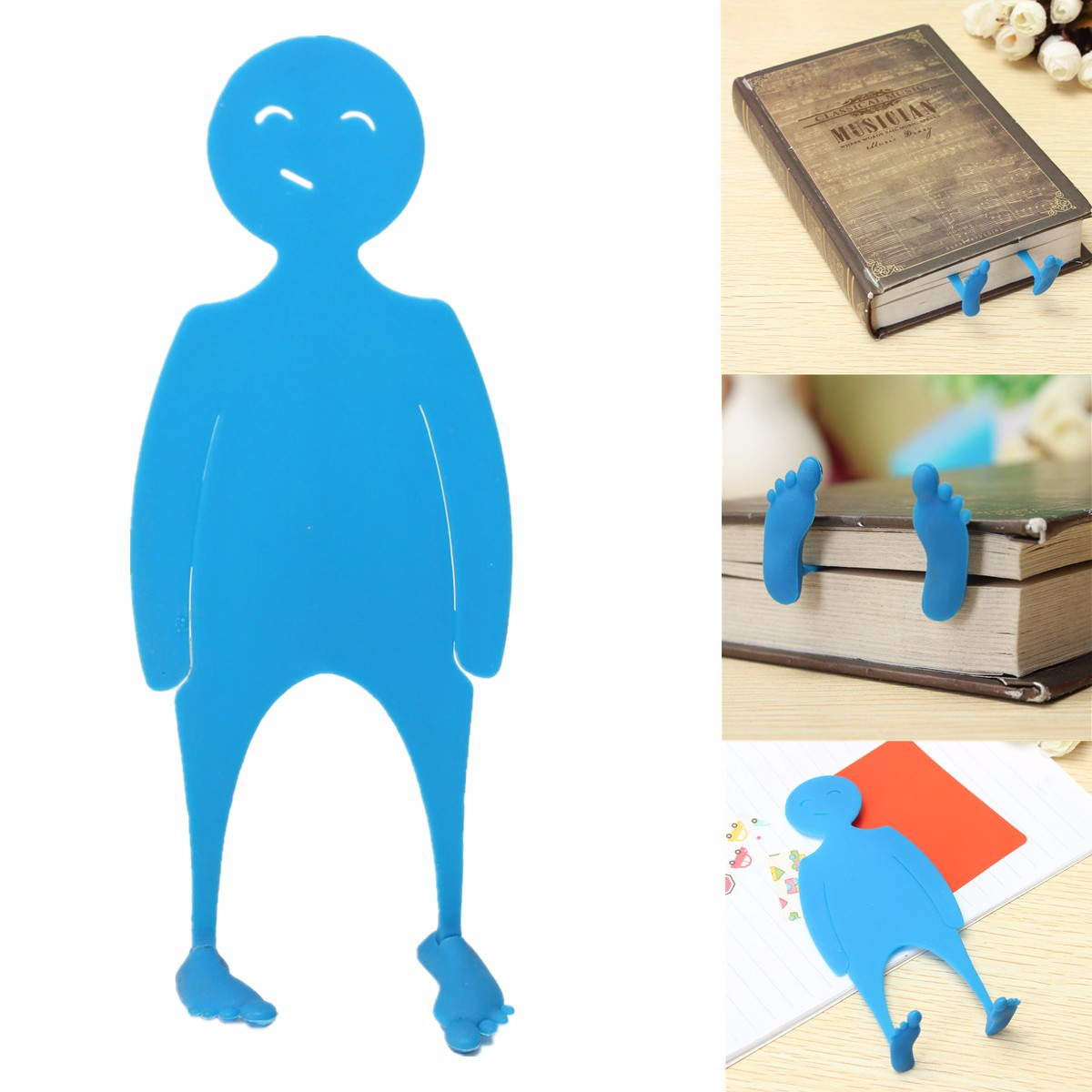 Cute Novelty PE Man Shape Bed Time Story Bookmark Books Page Marker Stocking Fillers Cartoon Character Modeling Students Reading