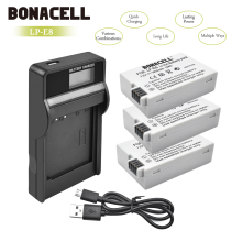 Bonacell LP-E8 LP E8 LPE8 Camera Battery+LCD Charger For Canon EOS 550D 600D 650D 700D Kiss X4 X5 X6i X7i Rebel T2i T3i T4i L50 2 pieces li ion battery charger lp e8 lp e8 rechargeable camera battery for canon 550d 600d 650d 700d ld456