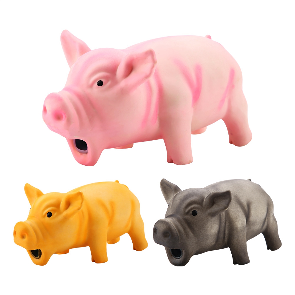 Cute Pig Grunting Squeak Latex Pet Chew Toys Pet Teasing Squeak Sound Funny Toys Dog Squeaker Molar Chew Training Pet Products(China)