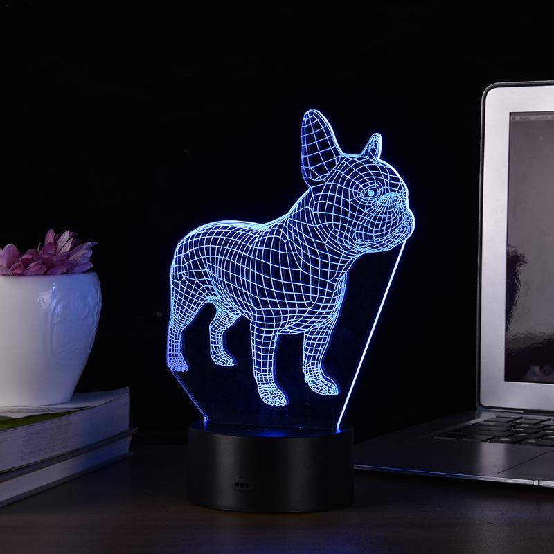 7 Colors French Bulldog 3D LED Night Lamp USB Hologram Decor Lamp Table Desk Sleep Lights Birthday Xmas Gift Dropshipping