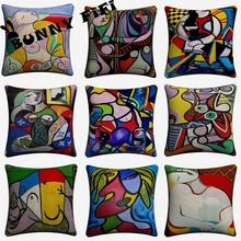 Picasso Women Abstract Decorative Pillow Covers For Sofa Home Decor Linen Cushion Case 45x45cm Throw Pillow Cases new year buck flower bird decorative pillow covers for sofa home decor linen cushion case 45x45cm throw pillow cases