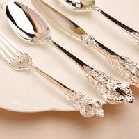 KuBac HoMmi 24Pcs Classical Dinnerware Set 18/10 Stainless Steel Dinner Knife Fork Teaspoon flat ware INS Cutlery Set