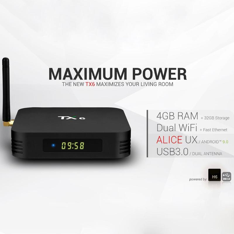 Tanix TX6 Allwinner H6 Android 9,0 Quad Core Smart TV Box 4G + 32GB 2,4G WiFi Set caja superior reproductor de medios de televisión para el hogar US EU Plug