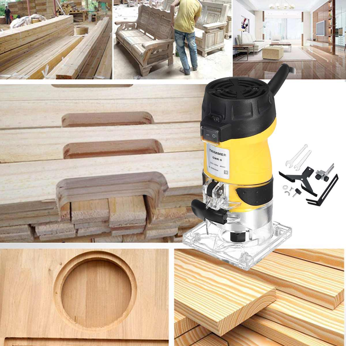 110 V/220 V 2200W électrique main tondeuse bois routeur 6.35mm bois plastifieuse menuiserie coupe coupe outils électriques - 3