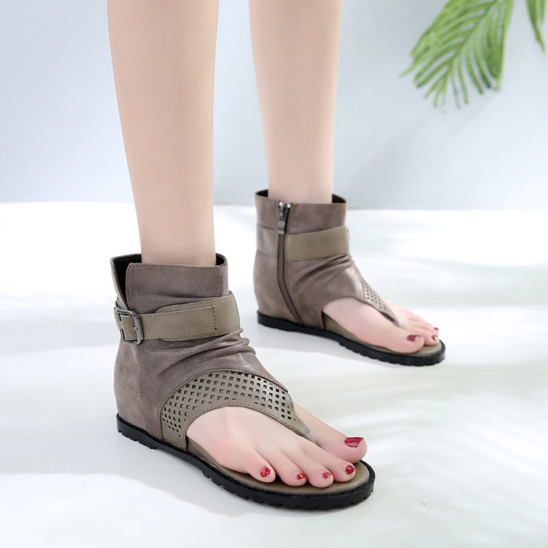 Ladies Summer Hight Cut Sandals Wedges Heels Heighten Shoes Woman Gladiator Style Flip Flop Hollow Out Rome Sandals in Middle Heels from Shoes