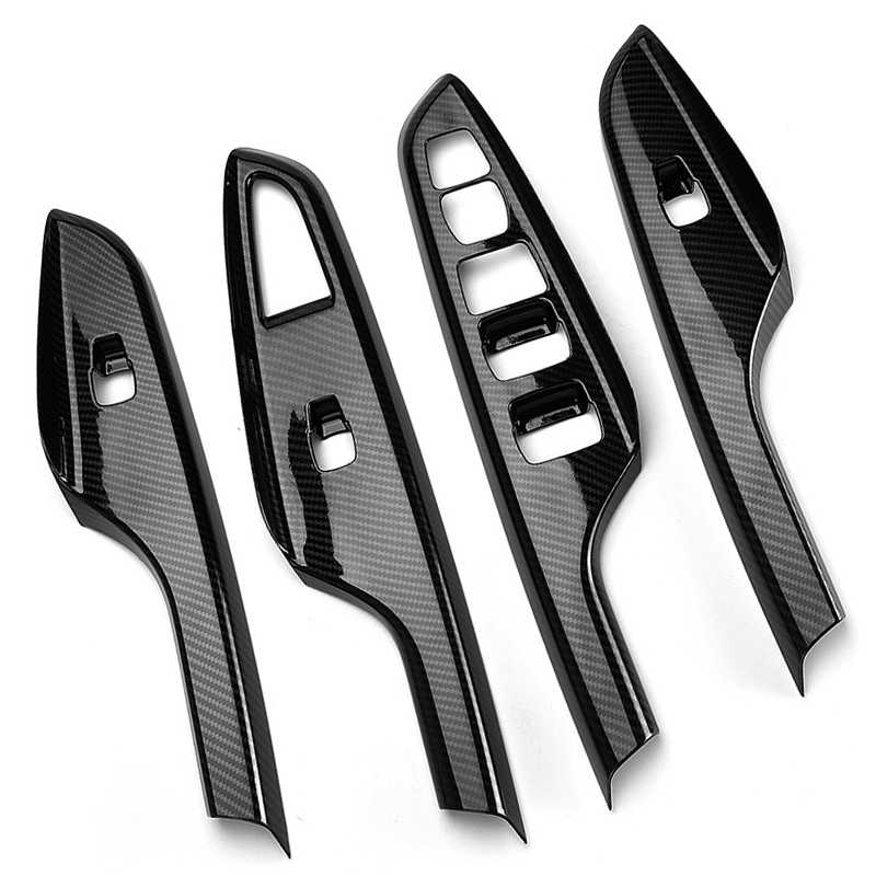 4pcs Carbon Fiber Car Door Window Switch Cover Black For Hyundai Kona Encino 18-19 Door Armrest Window Lift Panel Cover