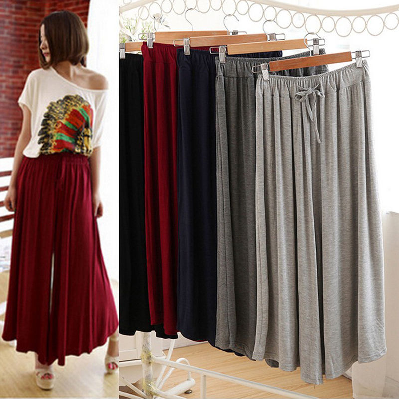 2019 New casual loose modal   wide     leg     pants   culottes big swing skirt   pant
