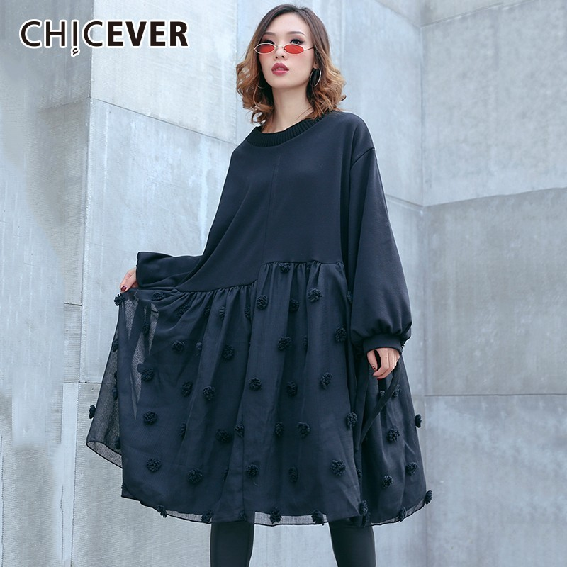 05b8ae5196699 CHICEVER Autumn Winter Patchwork Hair Bulb Mesh Women's Dresses Female O  Neck Lantern Sleeve Loose Warm Dress Fashion Casual New