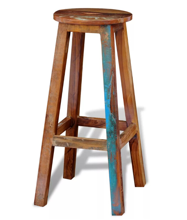 VidaXL Bar Stool Reclaimed Solid Wood Modern Natural Finish Kitchen Dining Chair Decor Robust Construction Industrial Home UseVidaXL Bar Stool Reclaimed Solid Wood Modern Natural Finish Kitchen Dining Chair Decor Robust Construction Industrial Home Use