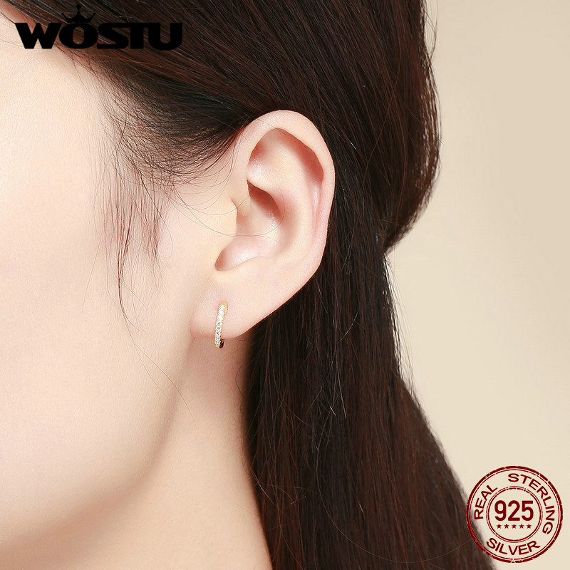 WOSTU Hot Sale 925 Sterling Silver & Gold Color Small Circle Hoop Earrings For Women Birthday Simple Noble Jewelry Gift CQE498 1