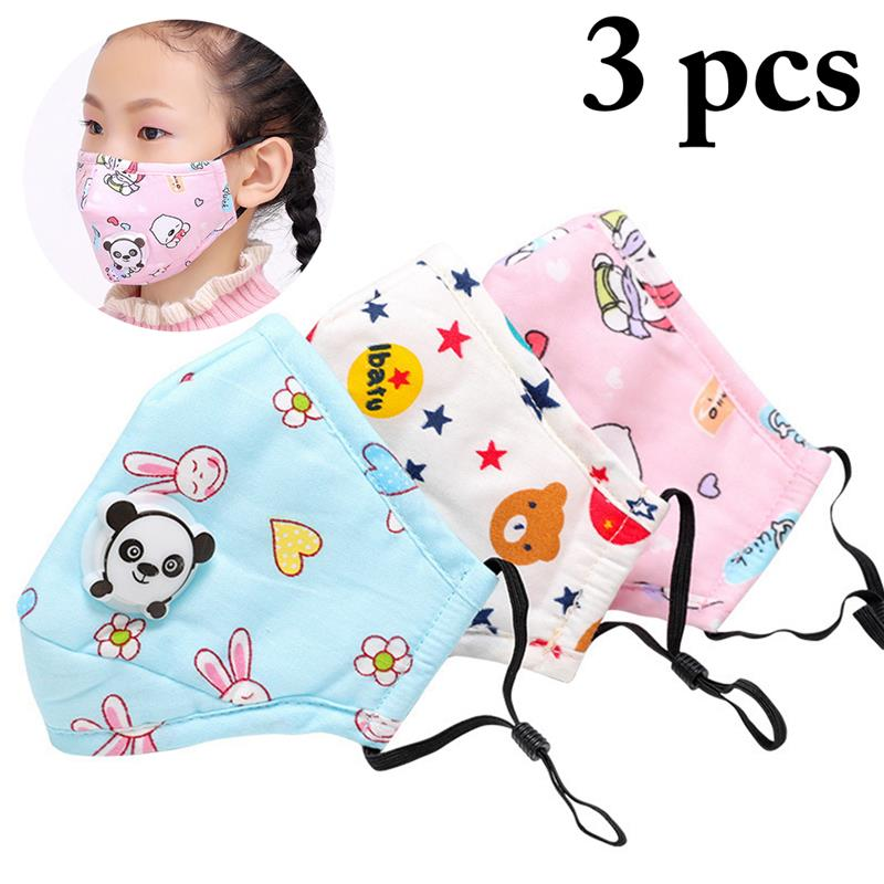 3Pcs/Set Winter Cartoon Panda Children Print Respiratory Valve Smog Mask Warm Dust Mask Pink Bear+Blue Bunny+Star Bear Head