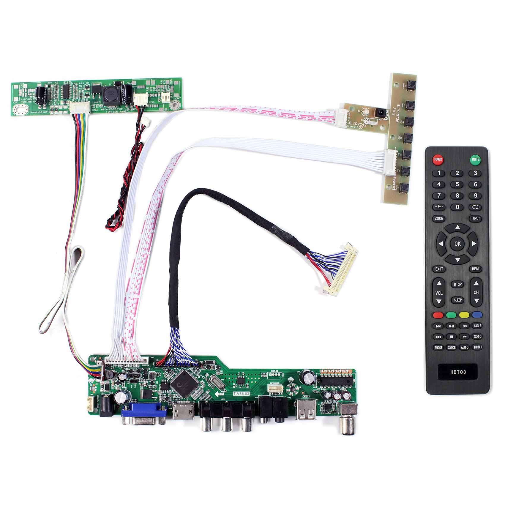 HDMI VGA AV USB RF LCD Controller Board T.V56.03 Work For M170ETN01.1 M170ETN01.3 M190ETN01.0 G190ETN01.0