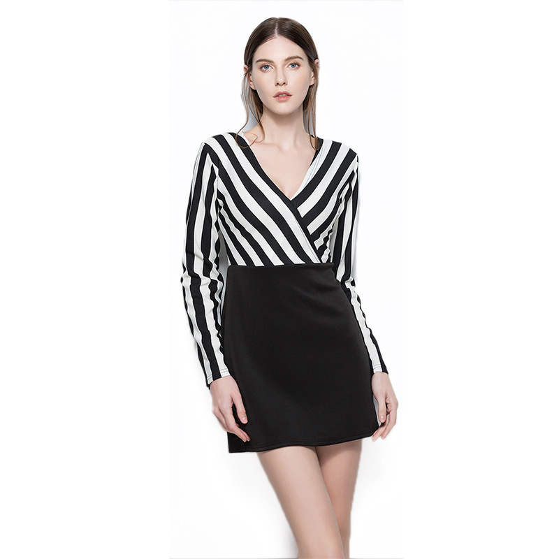 2019 Limited Cotton A-line Solid Full None Dress Ukraine Plus Size Spring And New European American V-collar Long Sleeved Dress