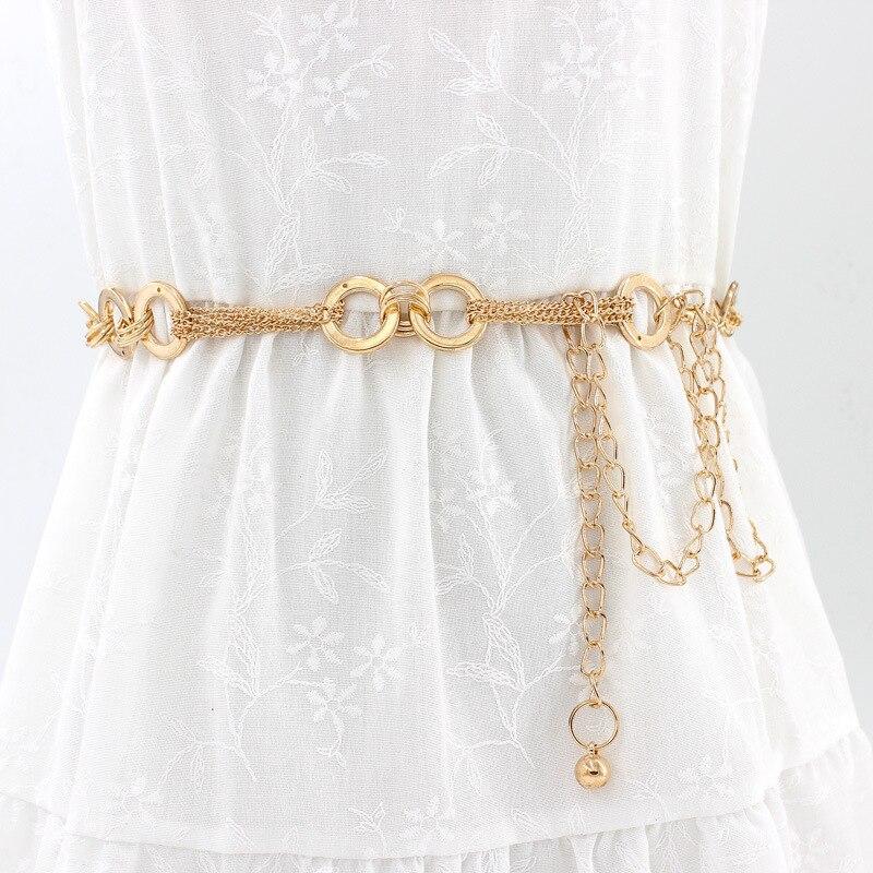Women Gold Ladies Women   Belt   Chain Stretchy Strap Elegant Waist   Belt   Metal Designer   Belts   Luxury Chain Waistband